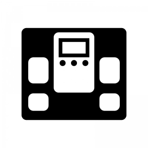 体重計(デジタル)の白黒シルエットイラスト