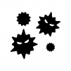 細菌の白黒シルエットイラスト02