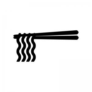 箸とラーメンの白黒シルエットイラスト