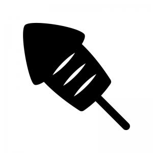 イカ焼きの白黒シルエットイラスト