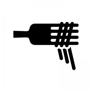 フォークと麺の白黒シルエットイラスト