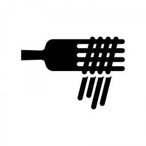フォークと麺の白黒シルエットイラスト02