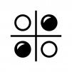 オセロゲームの白黒シルエットイラスト