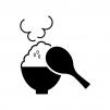 しゃもじと大盛りご飯の白黒シルエットイラスト