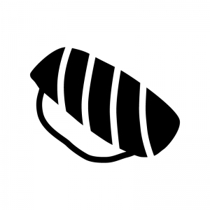 トロ・サーモンの握り寿司の白黒シルエットイラスト