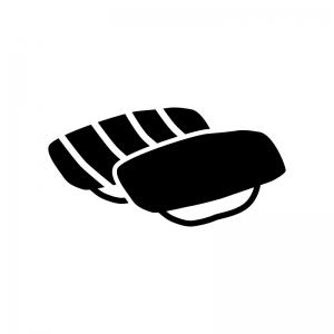 寿司二貫の白黒シルエットイラスト