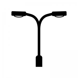 街灯の白黒シルエットイラスト02