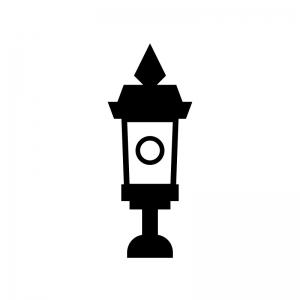 アンティークな街灯の白黒シルエットイラスト
