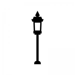 アンティークな街灯の白黒シルエットイラスト02