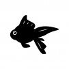 金魚の白黒シルエットイラスト