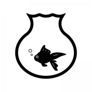 金魚鉢と金魚のシルエット 無料のai Png白黒シルエットイラスト