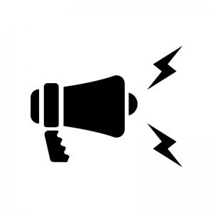 拡声器から音が出ている白黒シルエットイラスト02