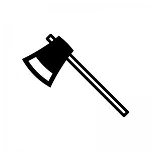 木こり斧の白黒シルエットイラスト