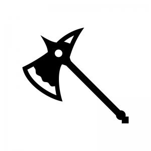 西洋の斧の白黒シルエットイラスト