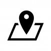 地図・マップピンの白黒シルエットイラスト02