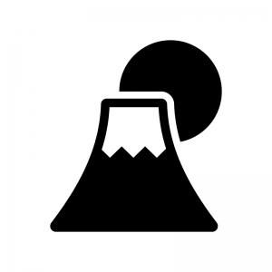 富士山と日の出の白黒シルエットイラスト