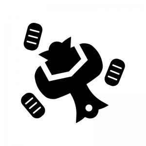 打ち出の小槌と小判の白黒シルエットイラスト02