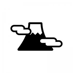 富士山と雲の白黒シルエットイラスト