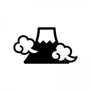 富士山と雲の白黒シルエットイラスト02