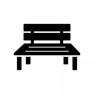 ベンチの白黒シルエットイラスト