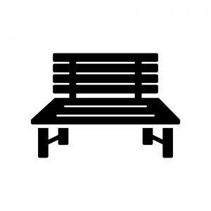 公園のベンチの白黒シルエットイラスト