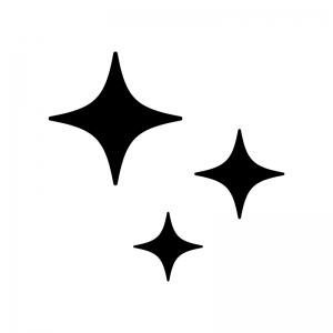 キラキラしているマークの白黒シルエットイラスト