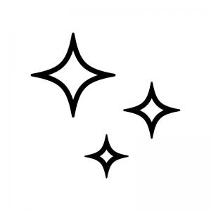 キラキラしているマークの白黒シルエットイラスト02