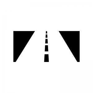 道路の白黒シルエットイラスト02