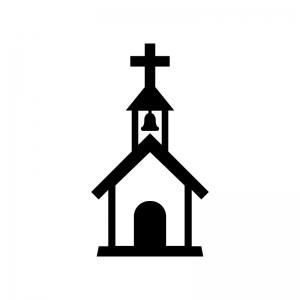 教会の白黒シルエットイラスト