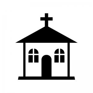 教会の白黒シルエットイラスト02