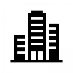 高層マンション・ビルの白黒シルエットイラスト