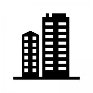 高層マンション・ビルの白黒シルエットイラスト02