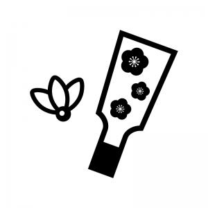 梅の花の羽子板の白黒シルエットイラスト