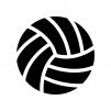 バレーボールの白黒シルエットイラスト02