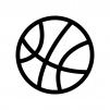 バスケットボールの白黒シルエットイラスト