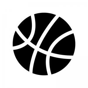 バスケットボールの白黒シルエットイラスト02