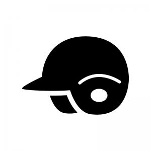 野球のヘルメットの白黒シルエットイラスト