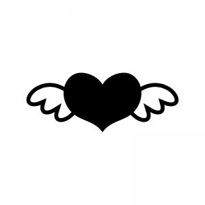 羽とハートの白黒シルエットイラスト