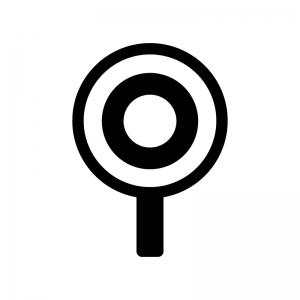 丸の札の白黒シルエットイラスト