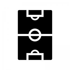 サッカーグラウンドの白黒シルエットイラスト