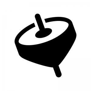 コマ・お正月の白黒シルエットイラスト