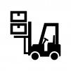 フォークリフトで荷物を上げている白黒シルエットイラスト