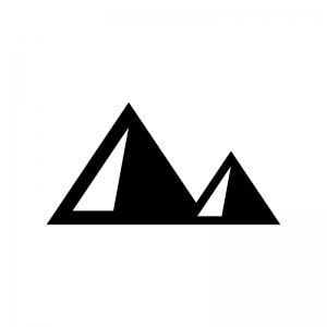 ピラミッドの白黒シルエットイラスト