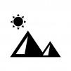 太陽とピラミッドの白黒シルエットイラスト