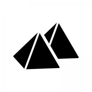 ピラミッドの白黒シルエットイラスト02