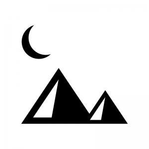 三日月とピラミッドの白黒シルエットイラスト