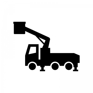 高所作業車の白黒シルエットイラスト02
