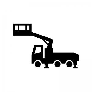 高所作業車の白黒シルエットイラスト03