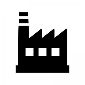 工場の白黒シルエットイラスト