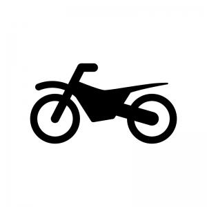 オフロードバイクの白黒シルエットイラスト